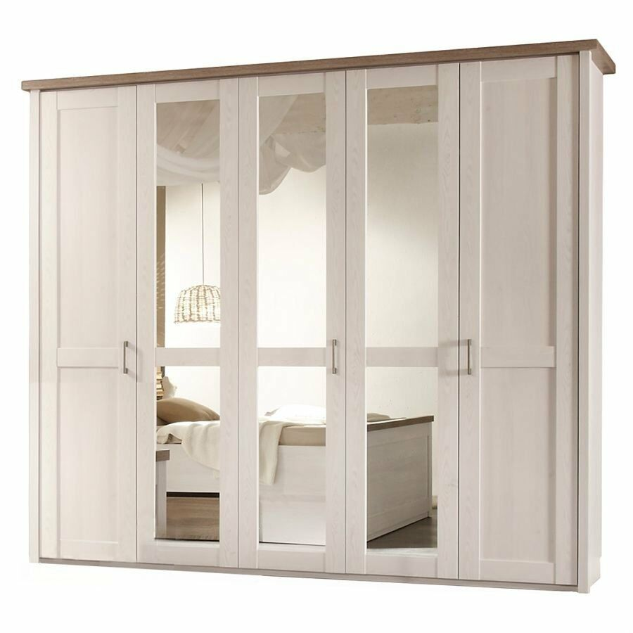 schlafzimmer kleiderschrank 5 t rig weiss tr ffel spiegel. Black Bedroom Furniture Sets. Home Design Ideas