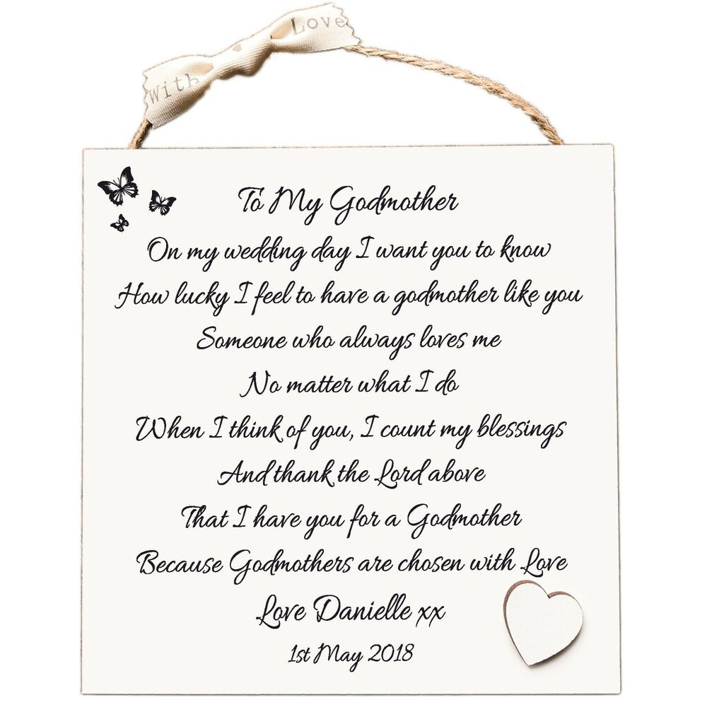 Wedding Gifts For Godparents : Godmother Gift, Thank You Personalised Wedding Plaque Card W233 eBay