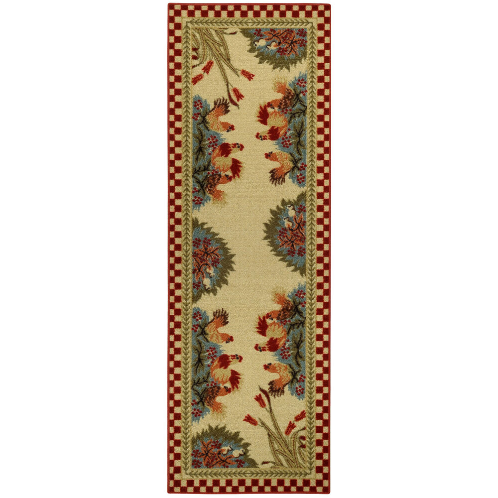 Rooster Checkered Non-skid Kitchen Runner Rubber Back Rug
