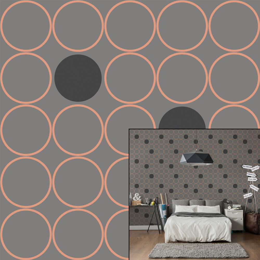 Crown Alpha Copper Grey Circle Metallic Feature Wallpaper