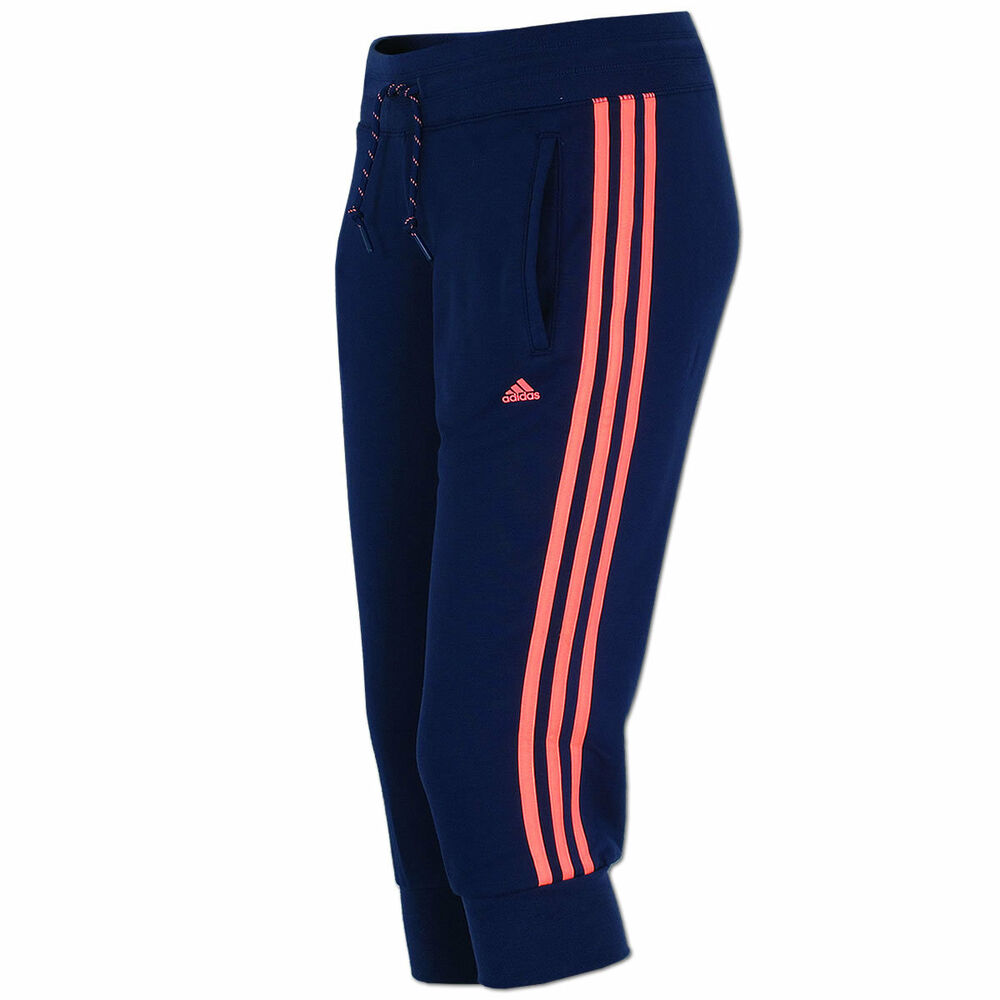 adidas damen 3 4 hose 3 streifen capri pant freizeithose essentials climalite ebay. Black Bedroom Furniture Sets. Home Design Ideas