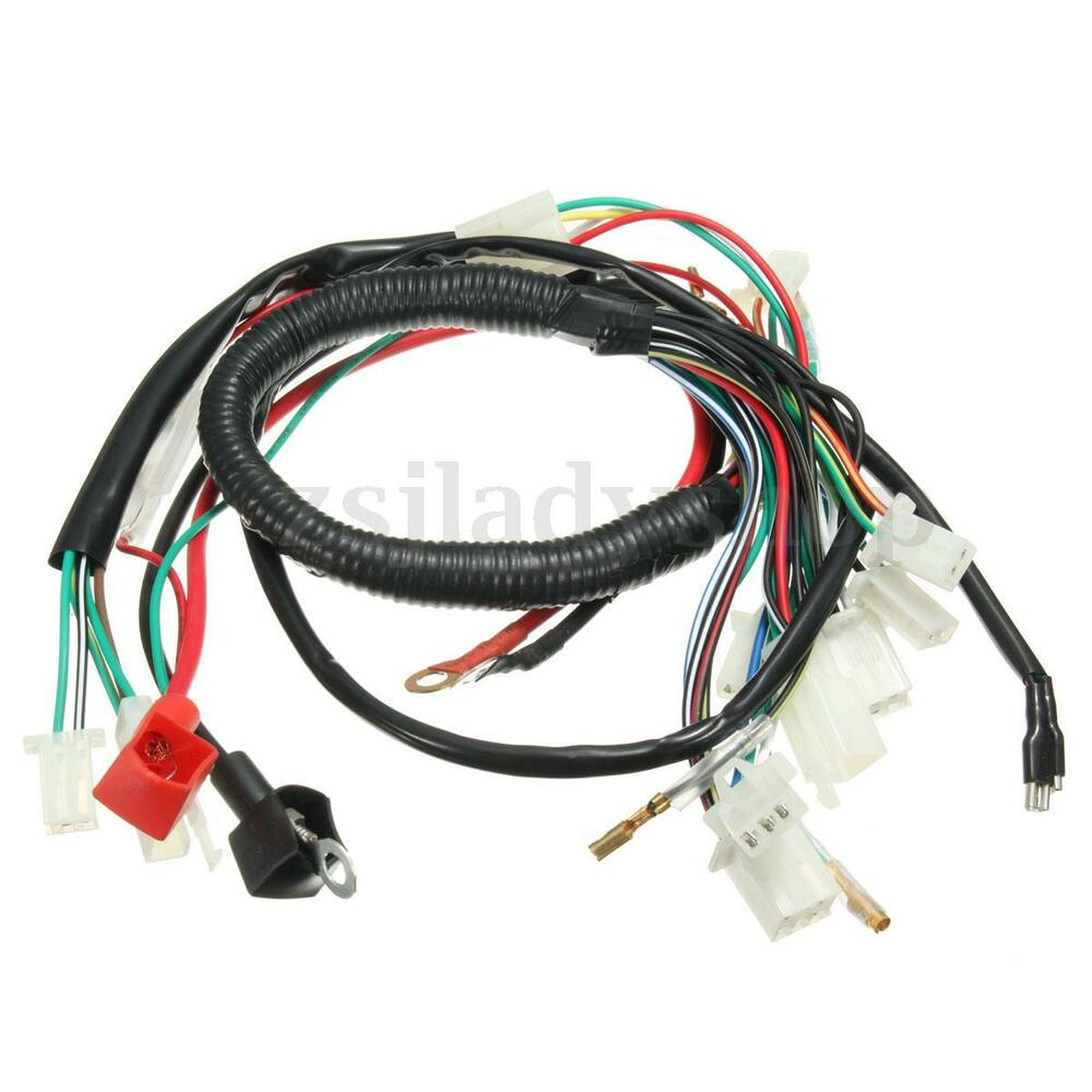 electric start wiring harness wire loom pit bike atv quads