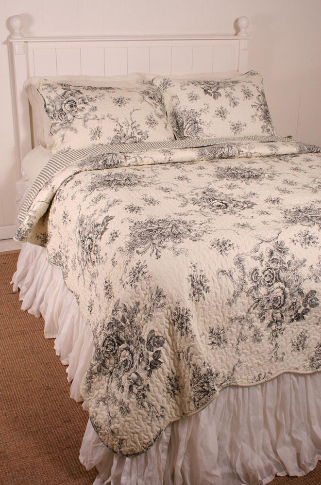 Queen Quilt French Country Floral Black Toile Coverlet Ebay