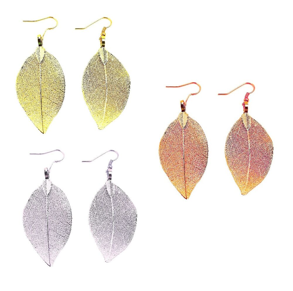 Real Dipped Leaf Dangle Earrings Yellow Gold Rose Gold