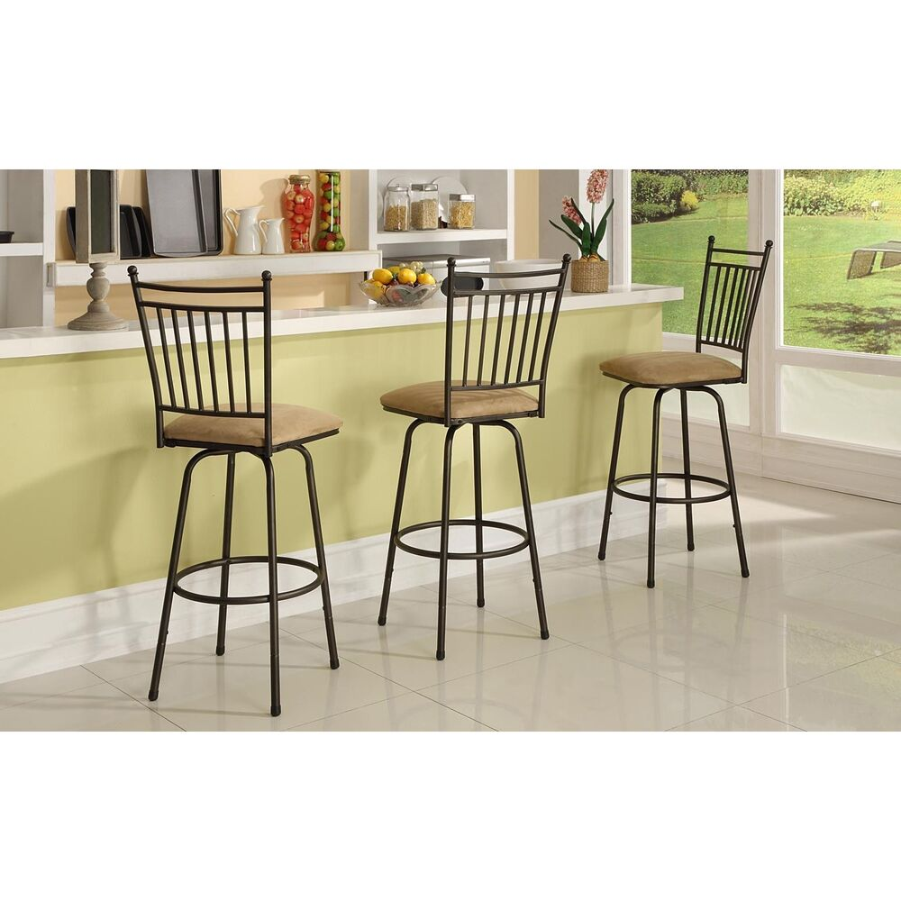 Linon Brown Adjustable Height Metal Swivel Barstools Set