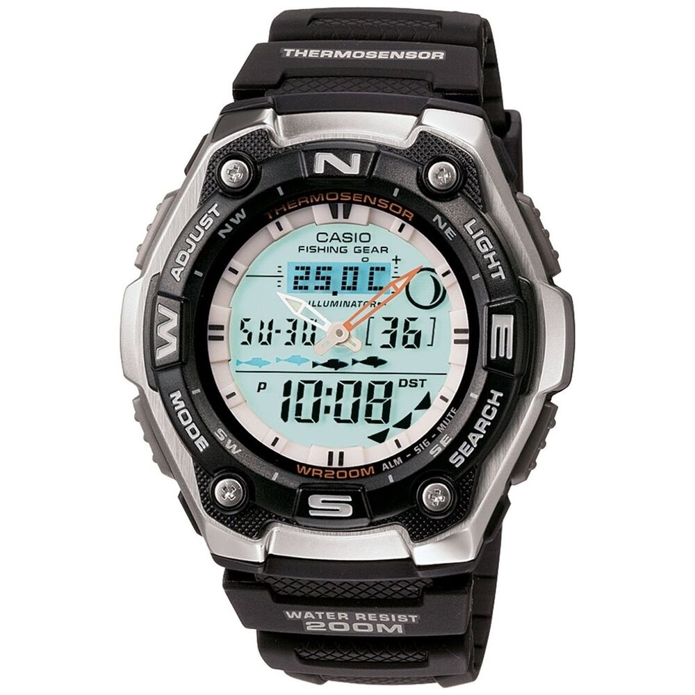 Casio men 39 s fishing gear digital watch ebay for Casio fishing watch