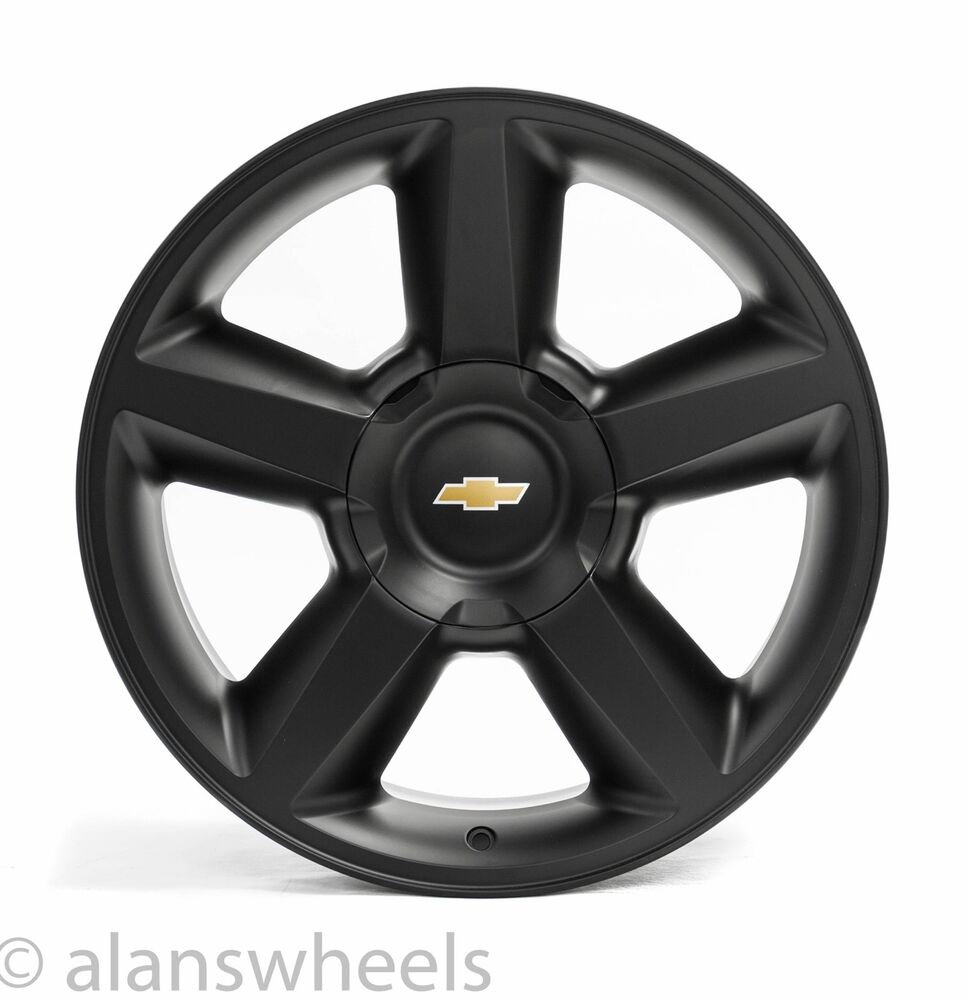 Chevy Truck Wheels >> 4 NEW Chevy Silverado Avalanche LTZ Matte Black 20 Wheels Rims Gold Bowtie 5308 | eBay