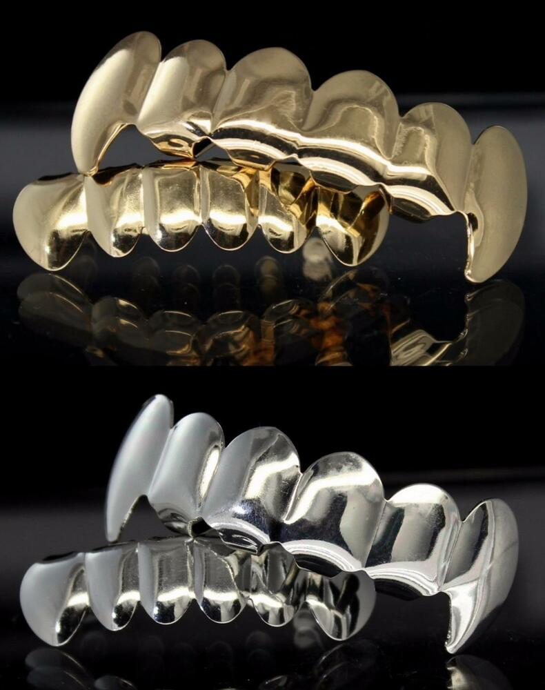 4 pc Fangs Gold & Silver Tone Grill Combo Set Top Bottom ...