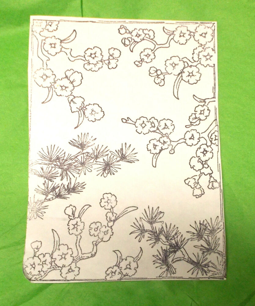 Asian Flowers background unmounted rubber stamp Card ...