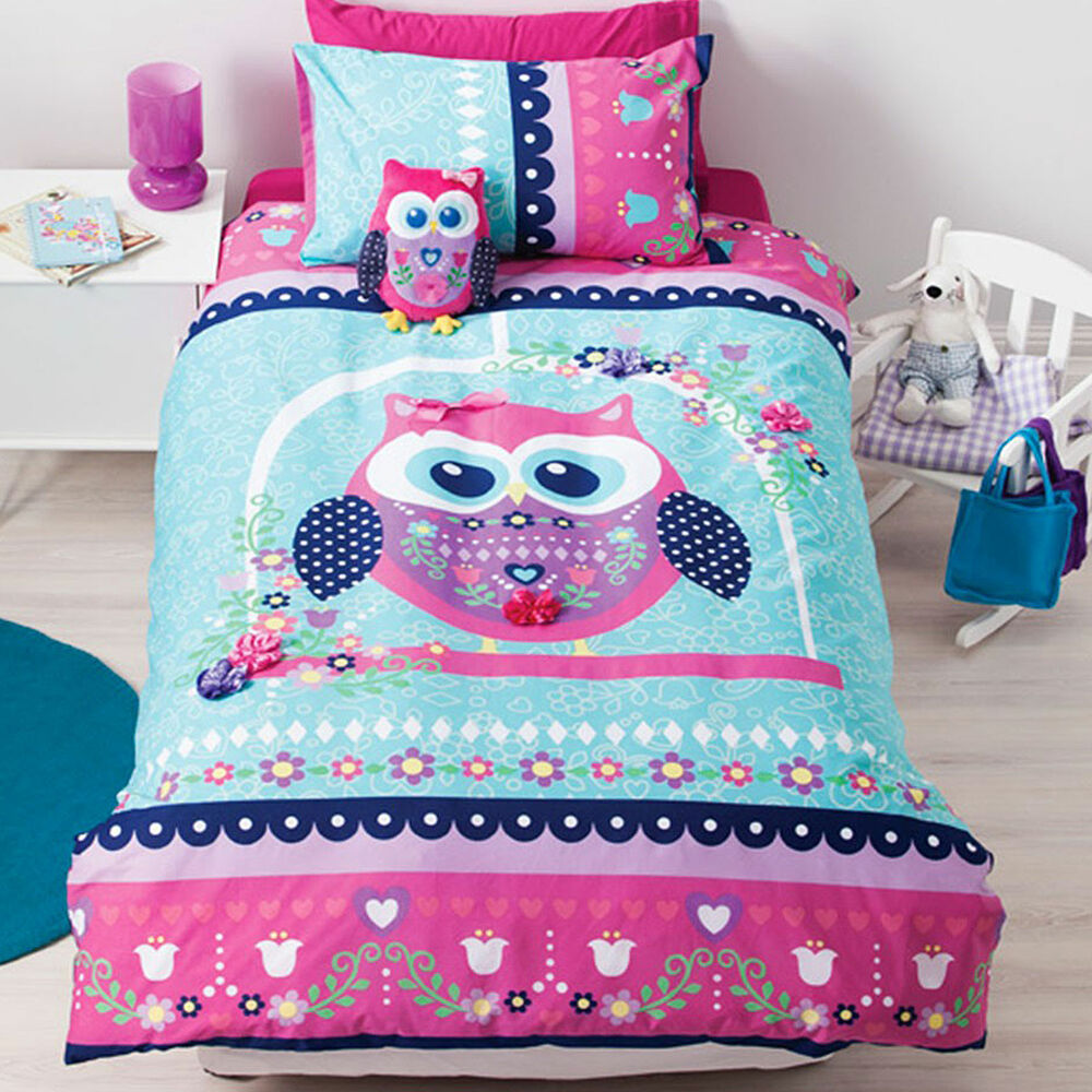 Pretty Owl Girls Applique Reversible Quilt Doona Duvet