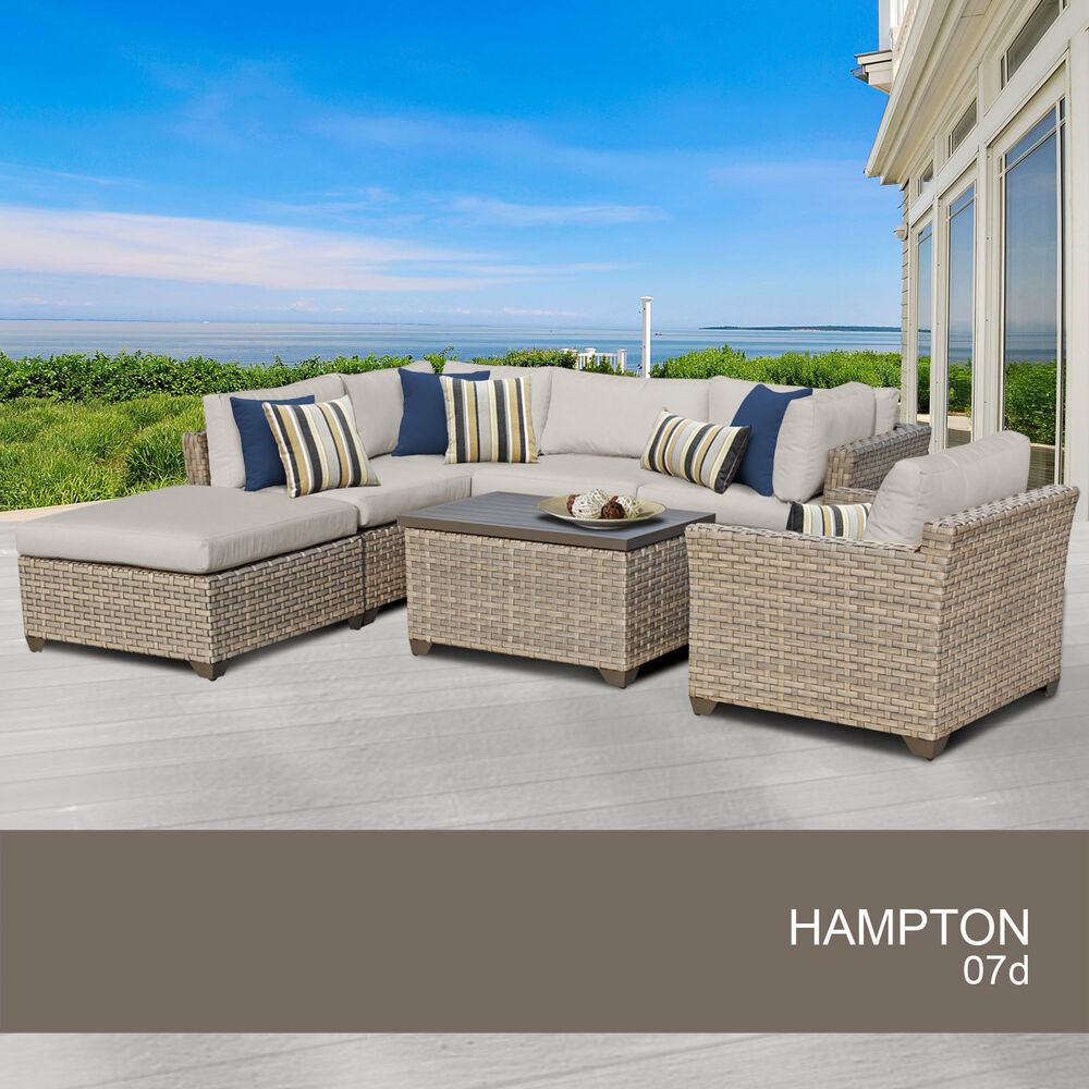 Hampton 7 piece outdoor wicker patio furniture set 07d ebay for Outdoor furniture 7 piece