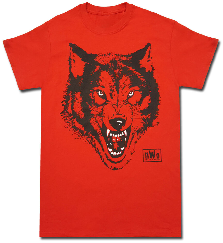 Nwo new world order wolfpac logo adult red t shirt ebay for Order shirts with logo