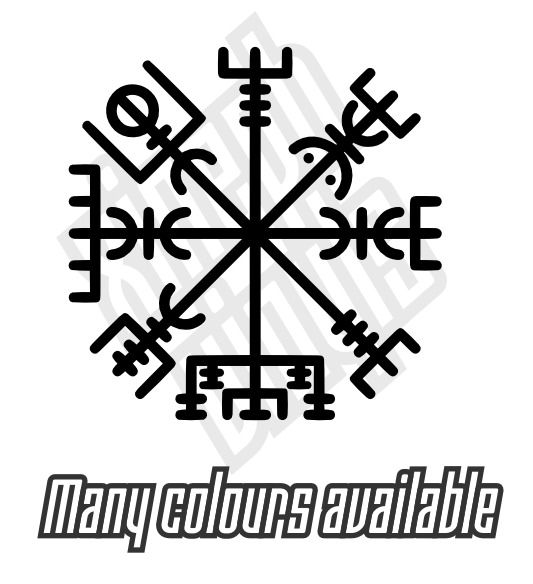 vegvisir runic compass vinyl sticker decal ipad car window tattoo rune viking ebay. Black Bedroom Furniture Sets. Home Design Ideas