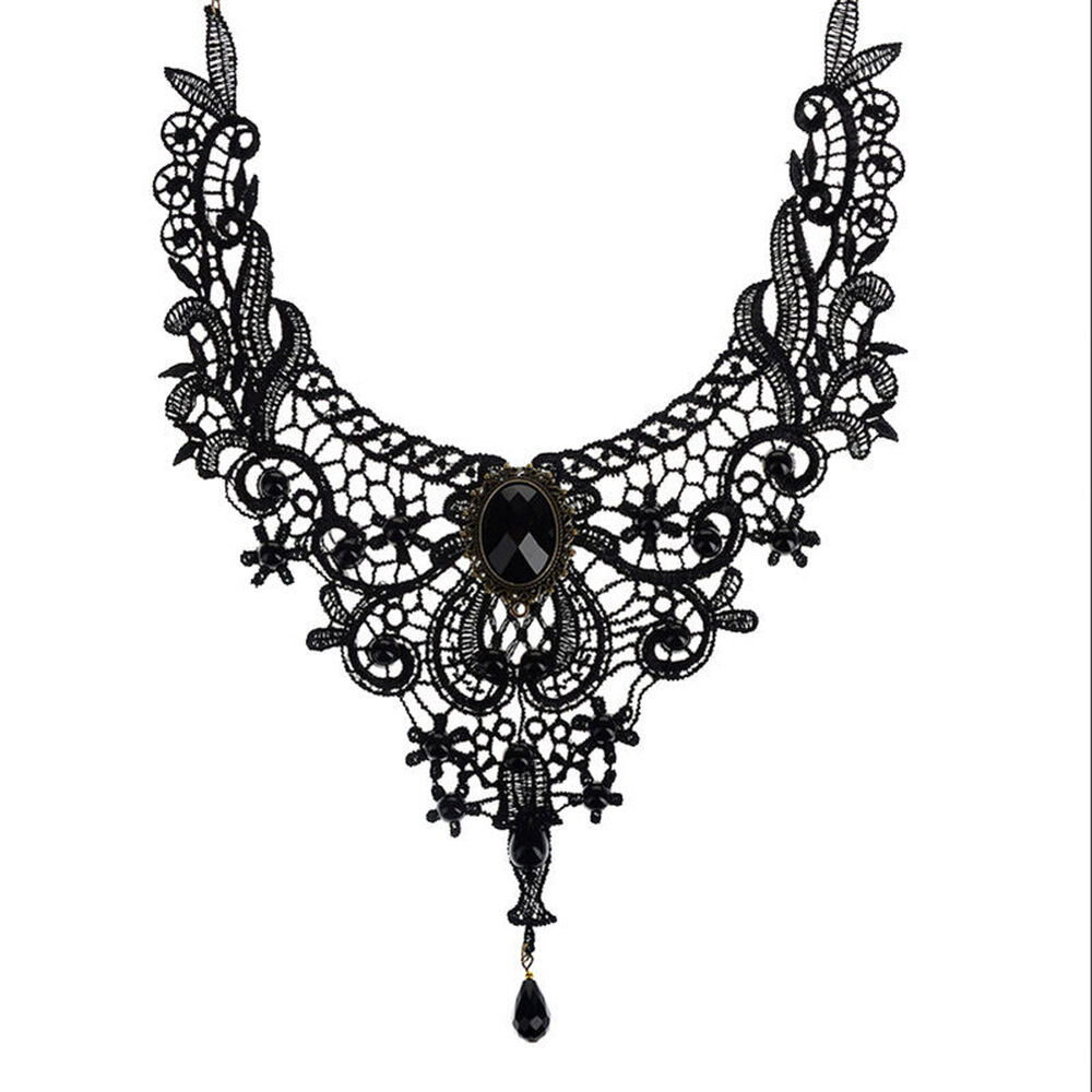 Ring In The Steampunk Decor To Pimp Up Your Home: Lady Black Lace& Beads Choker Victorian Steampunk Style