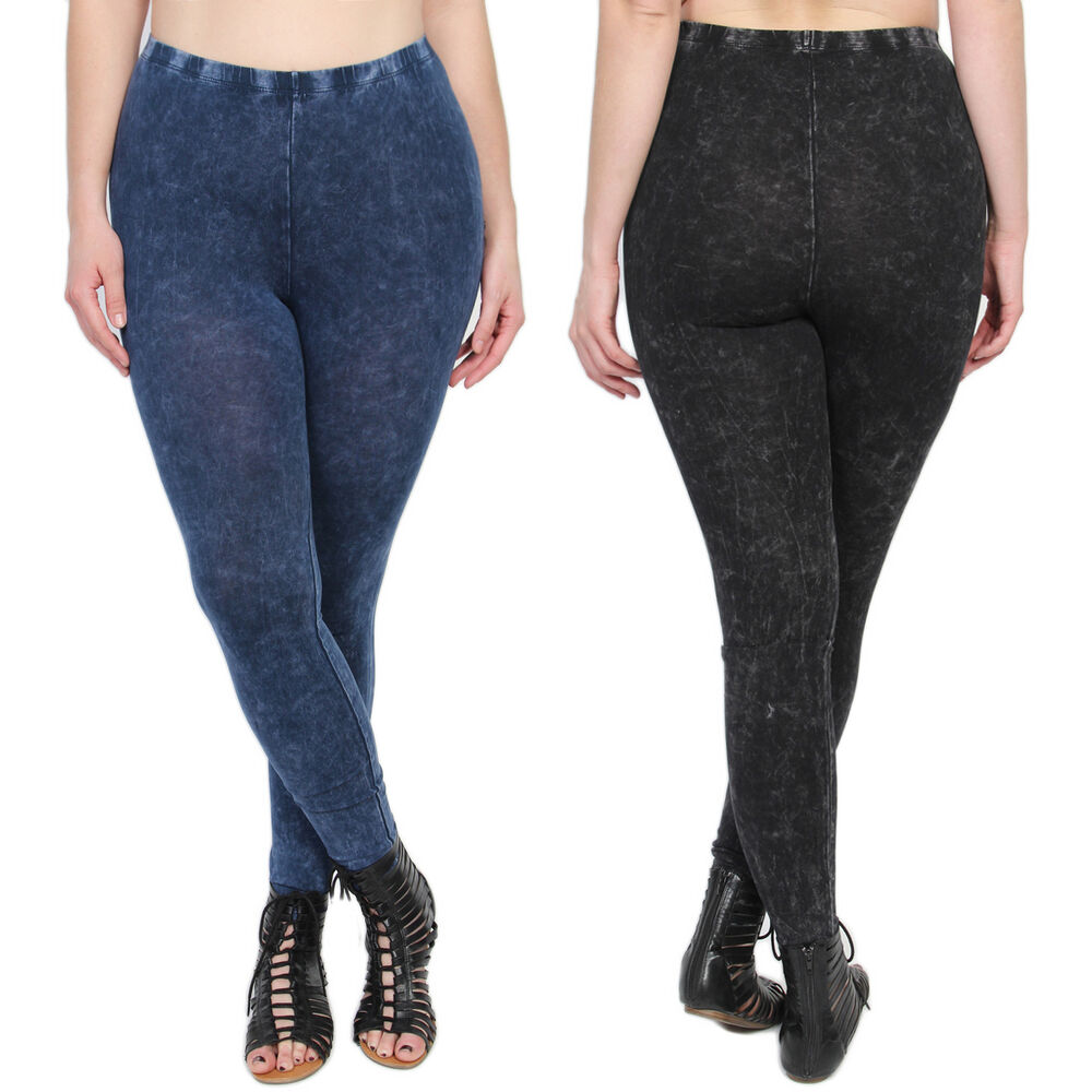 TheMogan Women's Plus Size Mineral Washed Denim Look Faux ...