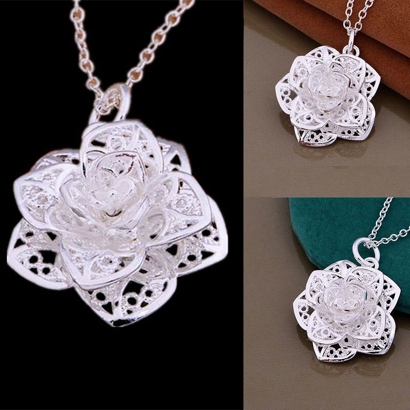 Women 925 Silver Plated Heart Flower Pendant Necklace ...
