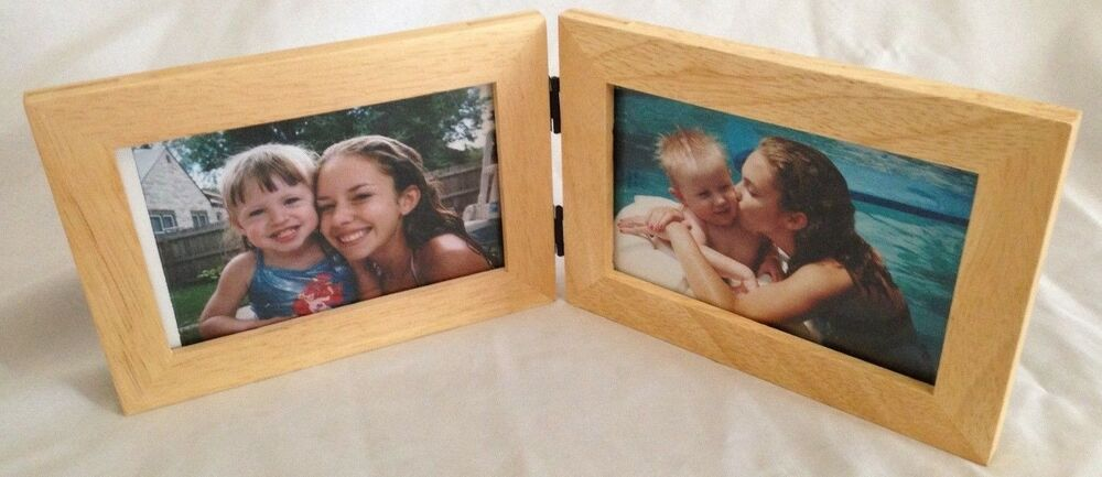 Wood 5x7 Quot Double Folding Picture Frame Holds Two 4x6