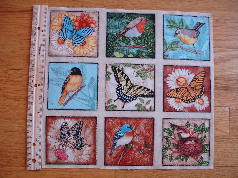 Butterflies Birds Nest Cotton Quilt Fabric Panel Blocks 9