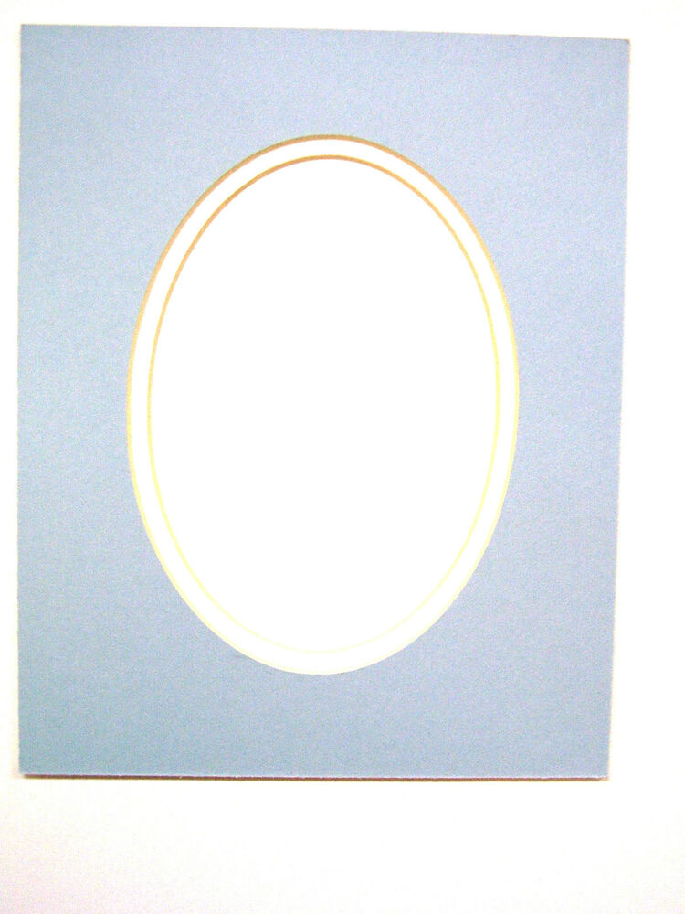 Picture Mat For Framing Baby Blue With White Liner Oval