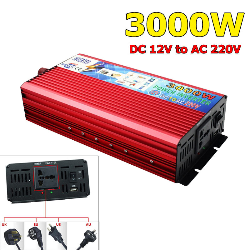 3000w modified inverter sine wave converter power dc 12v to ac 220v ebay. Black Bedroom Furniture Sets. Home Design Ideas