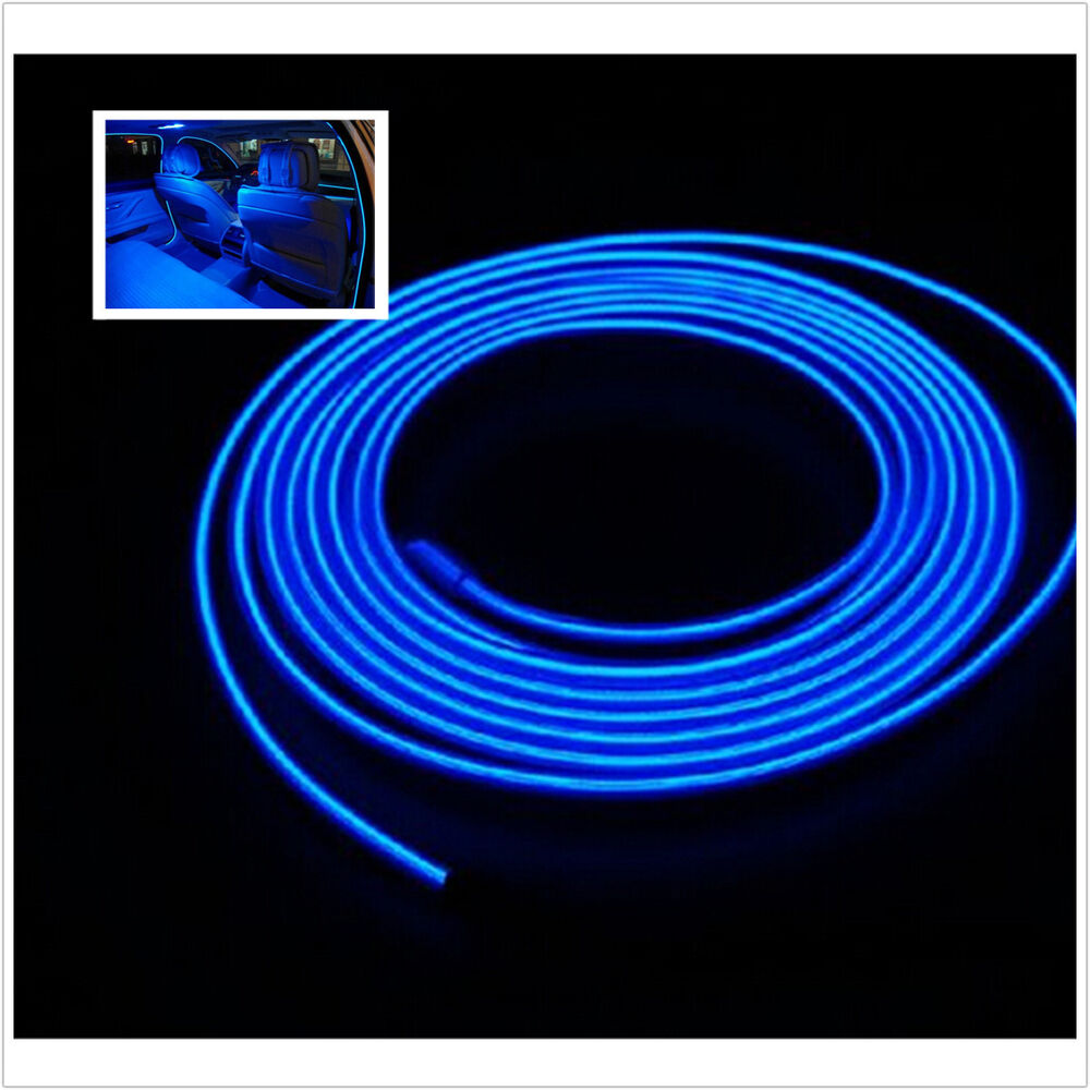 Blue 3m 12v Led Light Glow El Wire String Strip Rope Tube Car Interior Decor Ebay