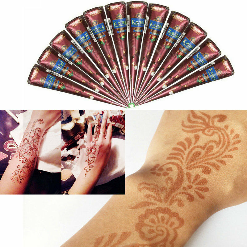 Natural herbal henna cones temporary tattoo kit body art for Henna body tattoo