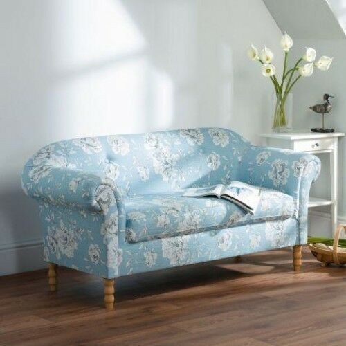 rosie floral 2 seater retro fabric sofa in floral blue chesterfield style sofa bed chesterfield style sofas rugby