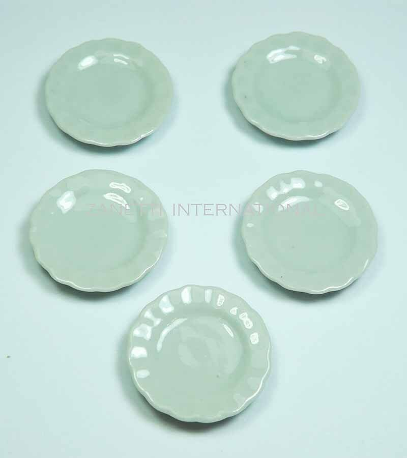5-Piece Dollhouse Miniature Ceramic Plates Set * 1-inch