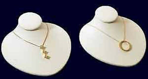 2 New White Leather Jewelry Display Bust Pendants ...