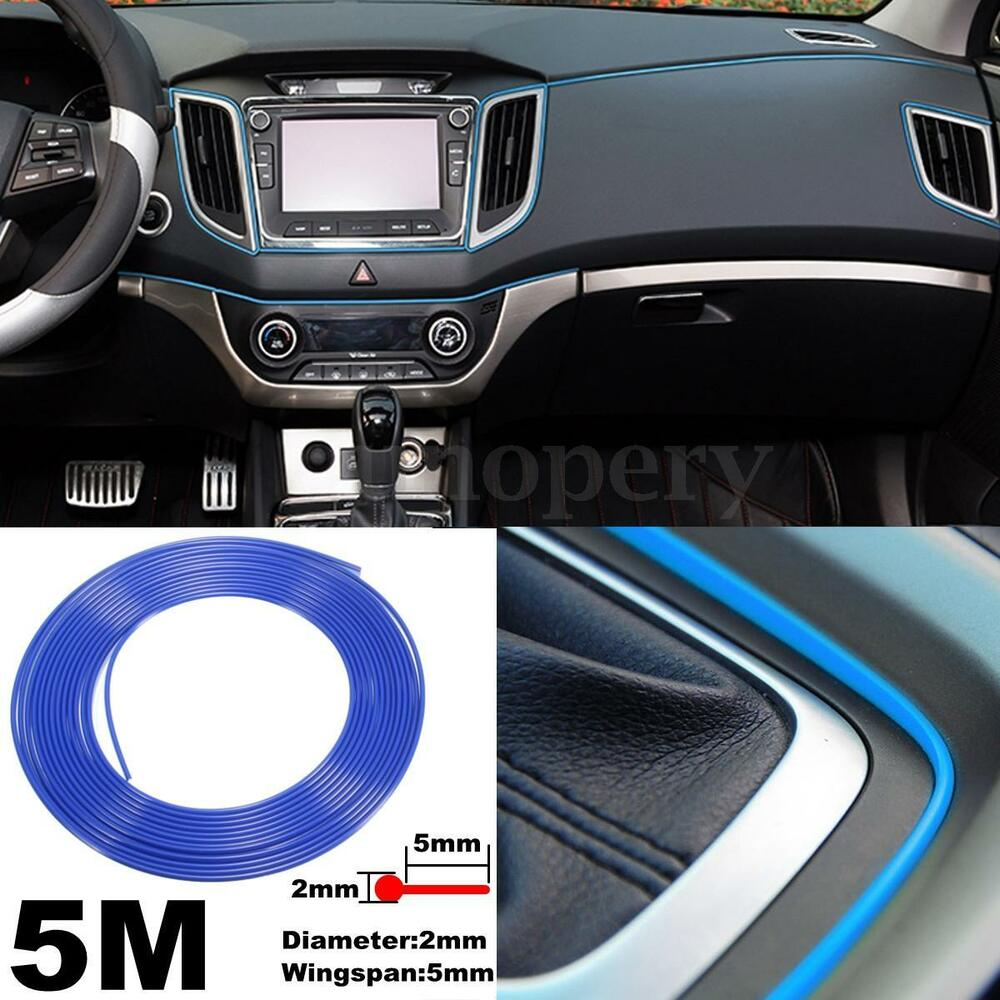 5m blue flexible car door moulding line interior external decorative trim strip ebay. Black Bedroom Furniture Sets. Home Design Ideas