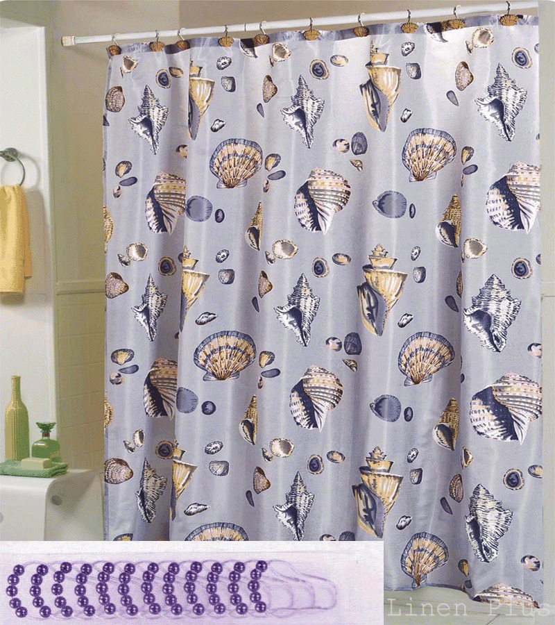 SHELL BLUE SHOWER CURTAIN 12 MATCHING RINGS BATHROOM SET