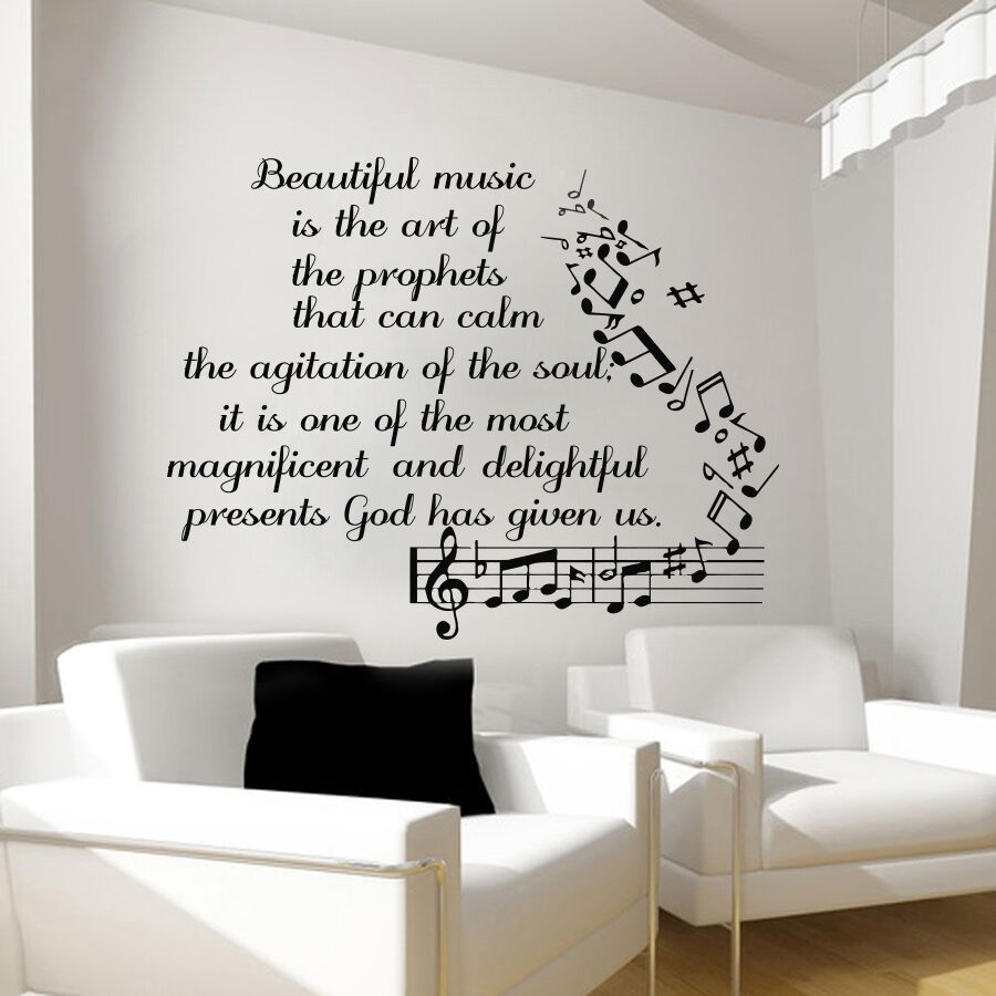 Music Wall Decals Vinyl Notes Decal Butterfly Sticker Nursery Bedroom Art Lm91 Ebay
