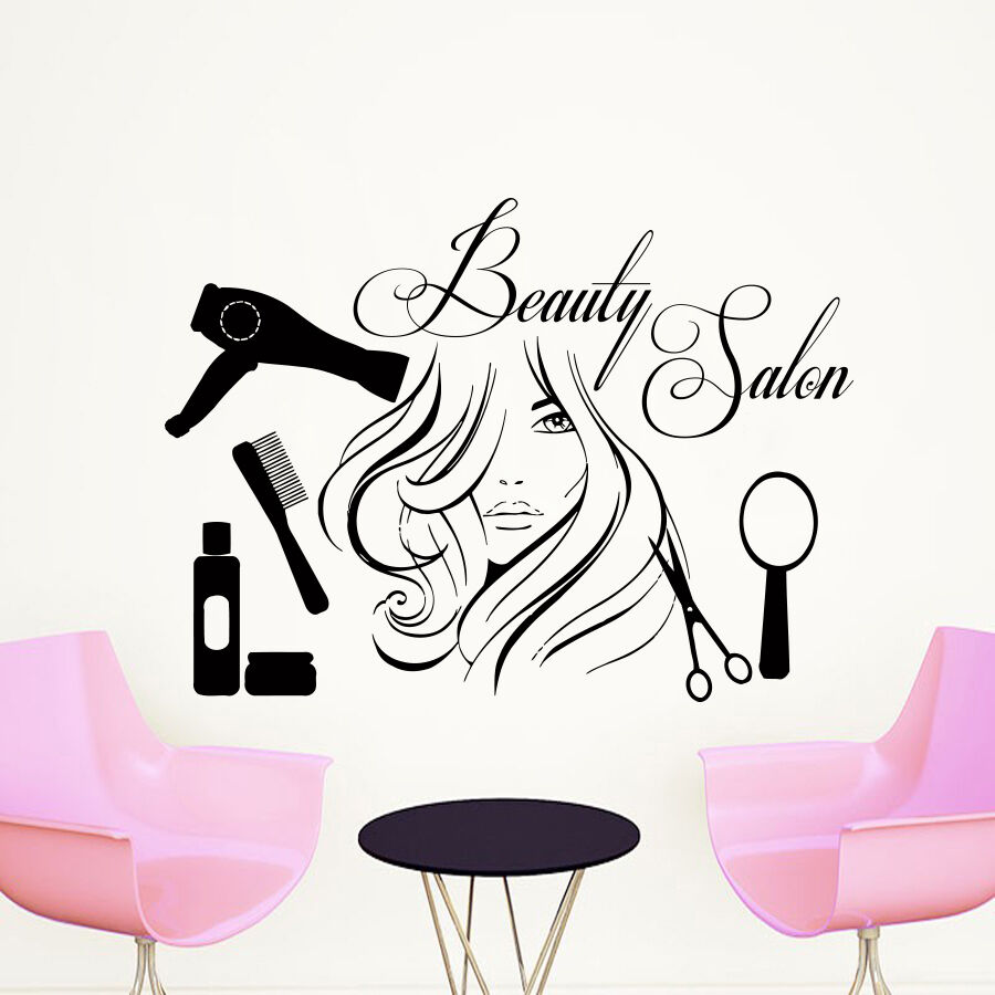 A Nail Art Beauty Salon Fashion Makeover Game For Girls: Wall Decal Quote Beauty Salon Make-Up Girl Woman Decals