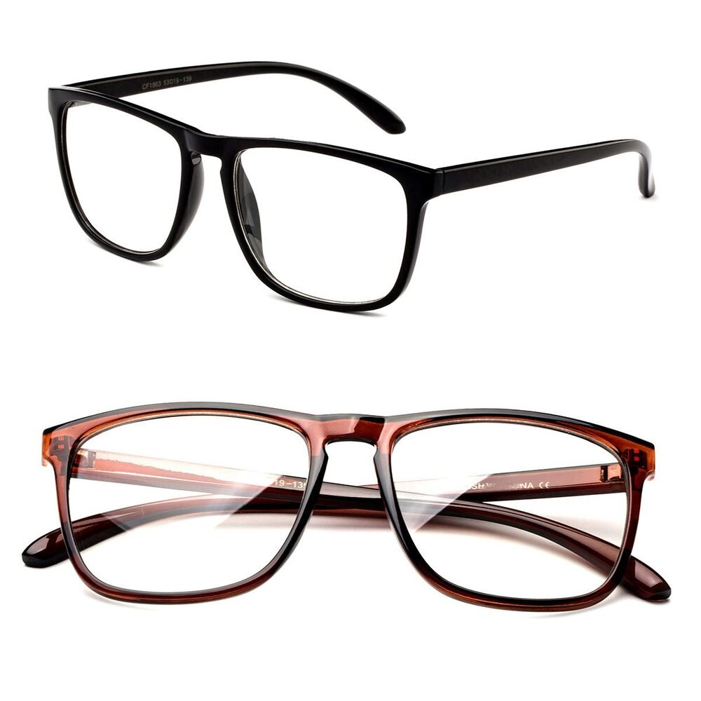 Black Frame Glasses Without Prescription : Classic Retro Inspired Clear Lens Squared Solid Color ...