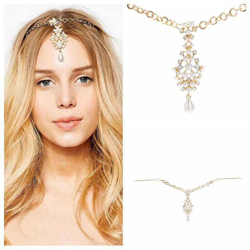 Wedding Headpieces With Forehead Jewelry: Bridal Forehead Jewelry Headpiece Flower Rhinestone