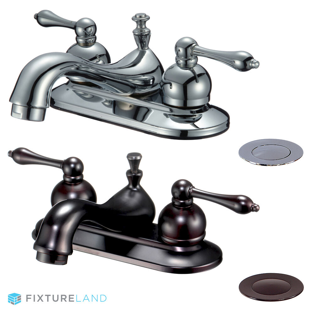 4 centerset bathroom sink faucet w drain ebay for Bathroom sink faucets