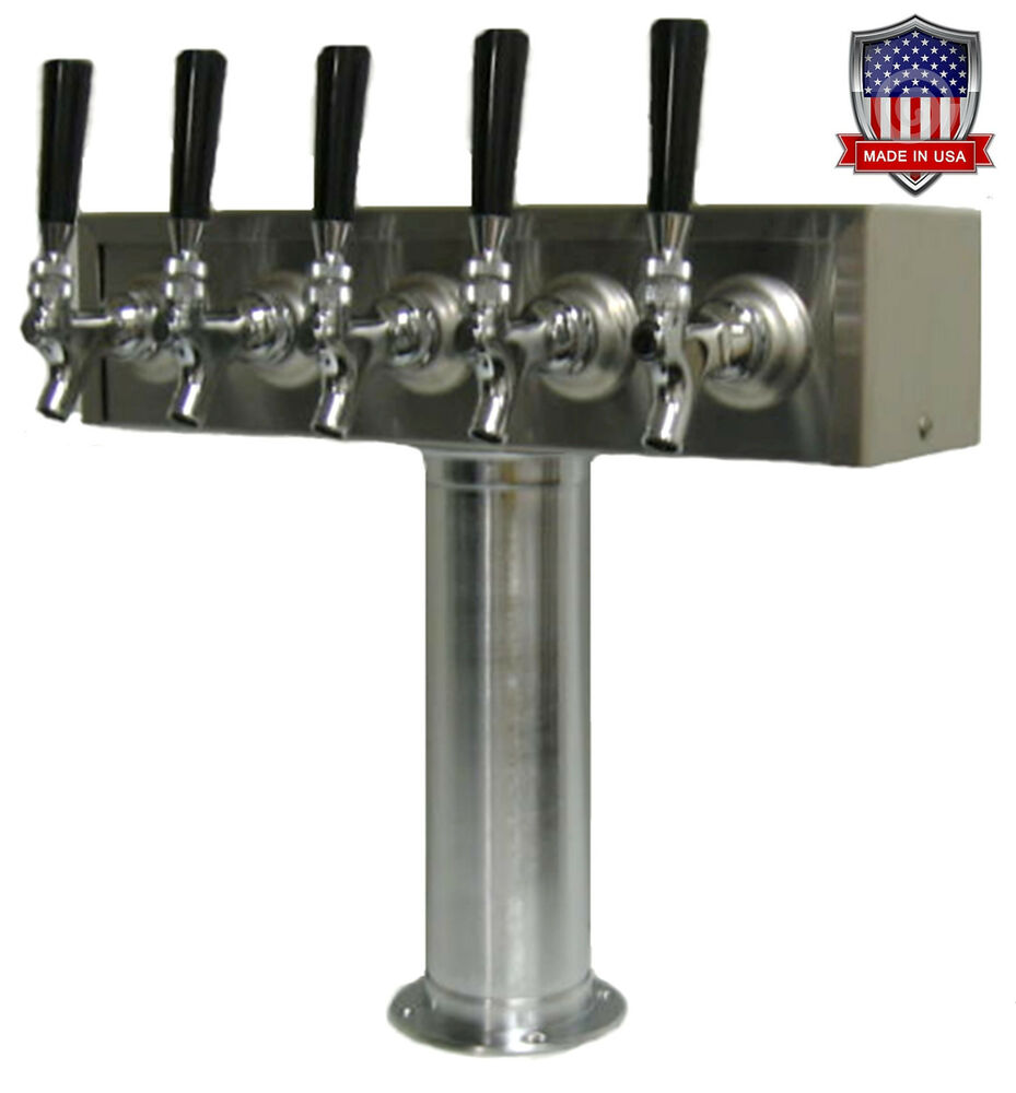 Stainless Steel Draft Beer Tower Made In Usa 5 Faucets Air Cooled Tt5cr Ebay