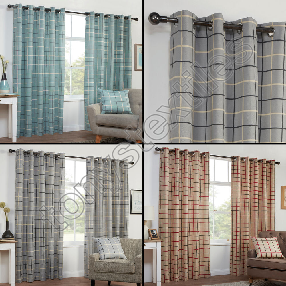 TEXTURED CHECK STRIPED RING TOP LINED PAIR EYELET CURTAINS
