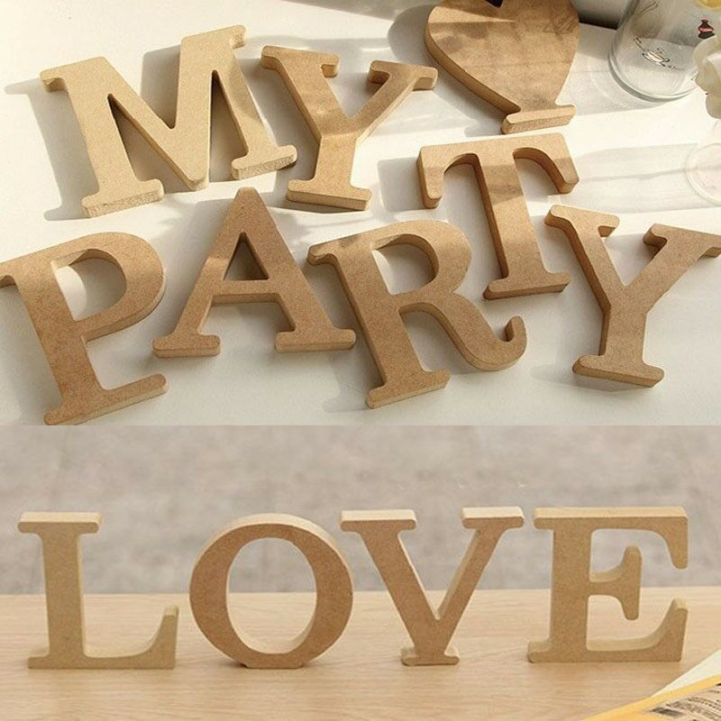 10x1.5cm (thick) Wood Wooden Letters Alphabet Wedding