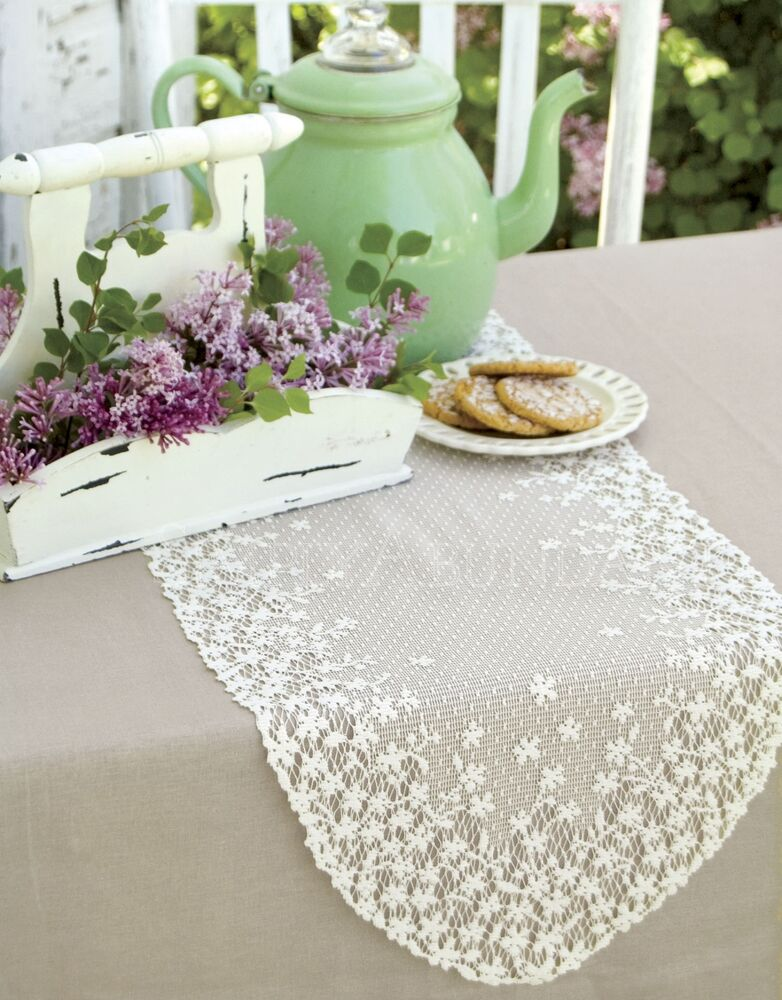 Heritage Lace Blossom Table Runner, 2 Colors 4 Sizes, Farmhouse Floral | eBay