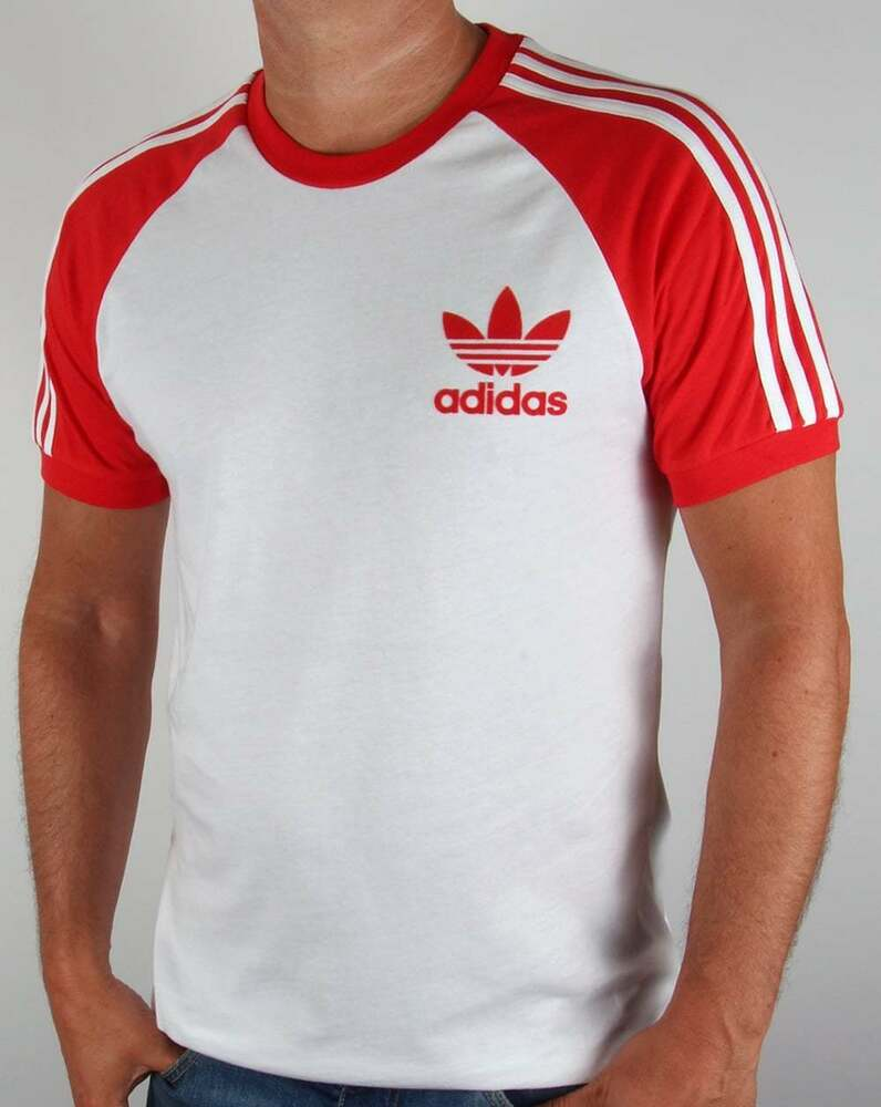 Adidas originals retro 3 stripe t shirt in white red for Adidas lotus t shirt