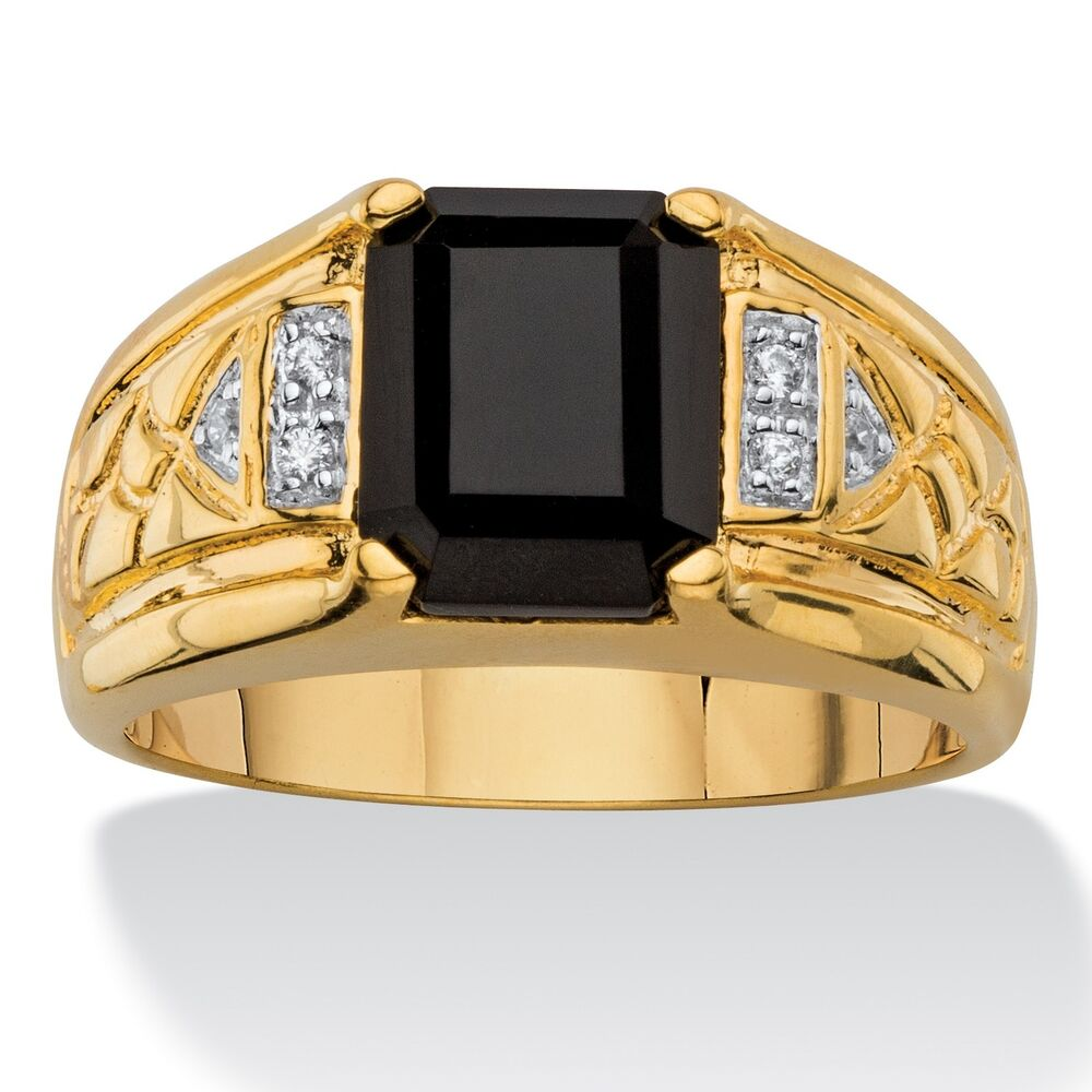 Men S Black Sapphire And Diamond Accent Ring