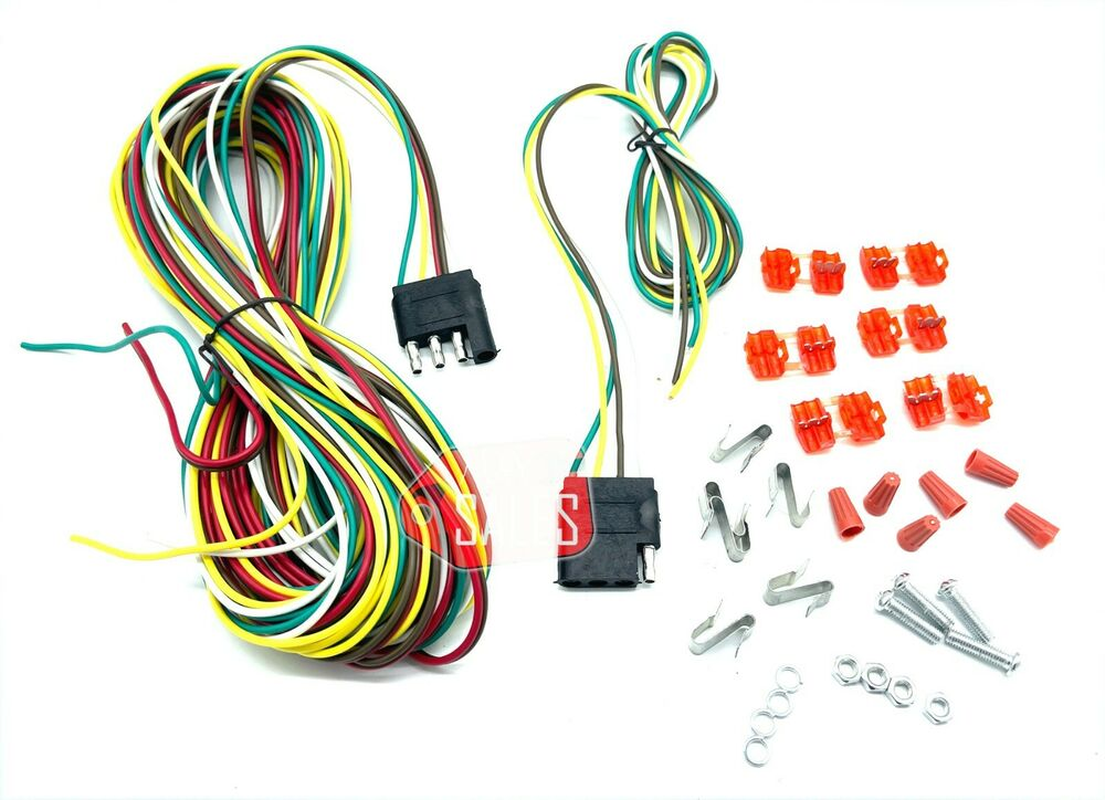 auto trailer wiring kits 25ft 4 way trailer wiring connection kit flat wire extension harness boat car rv | ebay #3