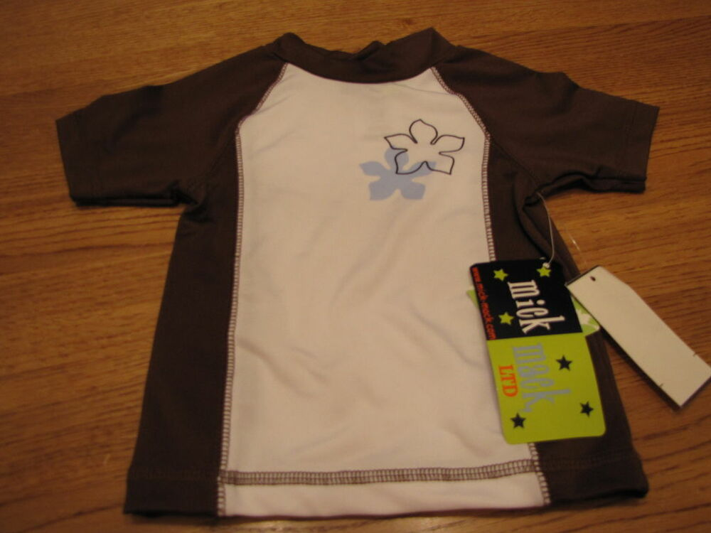 7c3c61d0ac Details about Mick and Mack LTD boys rash guard shirt swim 18 Mo months 18M  white brown NEW