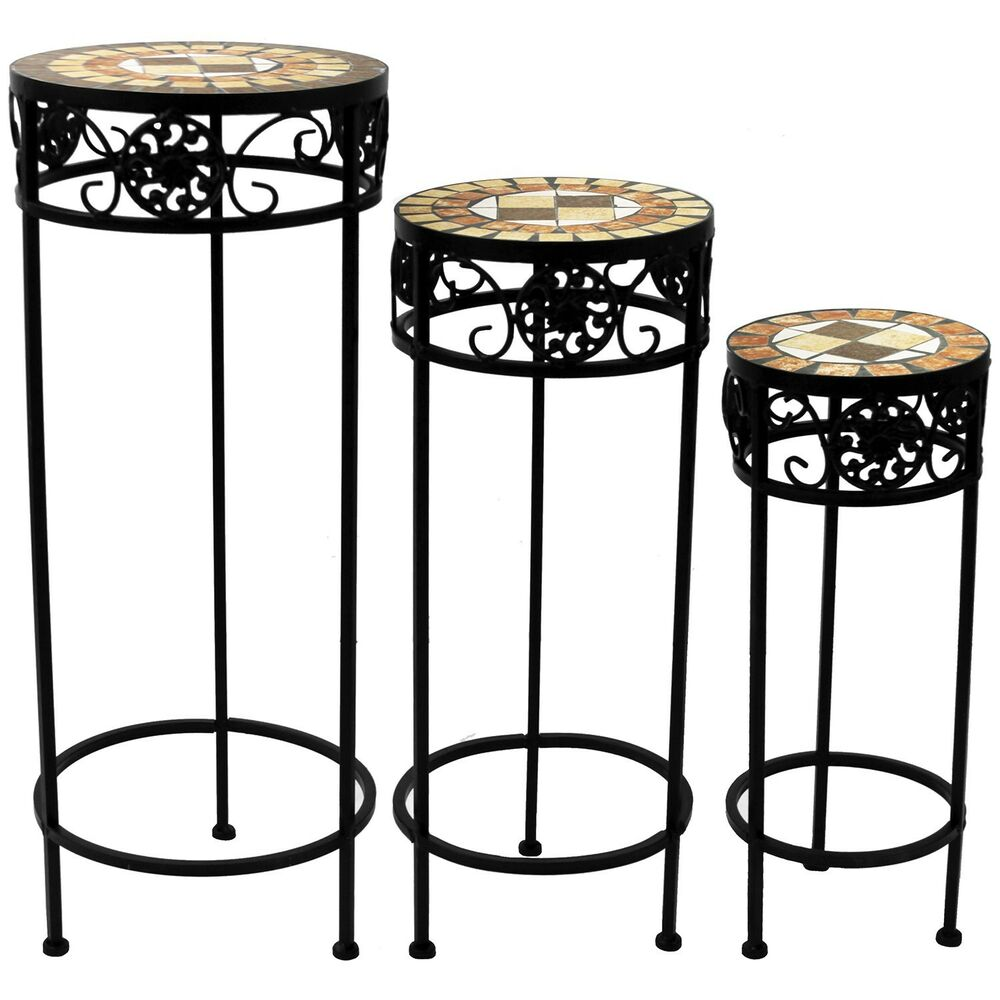 mosaik beistelltisch rund blumenhocker blumenst nder mosaiktisch quadrat 3er set ebay. Black Bedroom Furniture Sets. Home Design Ideas