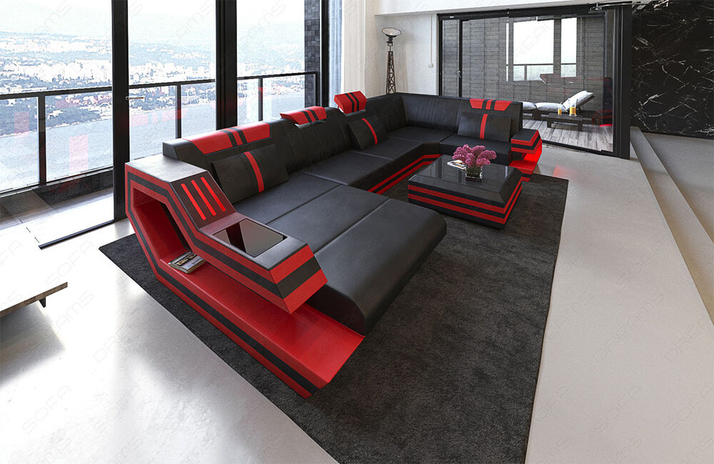 leather sectional sofa ravenna u shape corner sofa led lights designer couch ebay. Black Bedroom Furniture Sets. Home Design Ideas