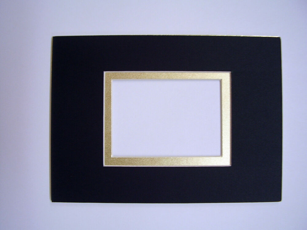 Picture Frame Mat Black With Gold Line 5x7 For 2 5x3 5
