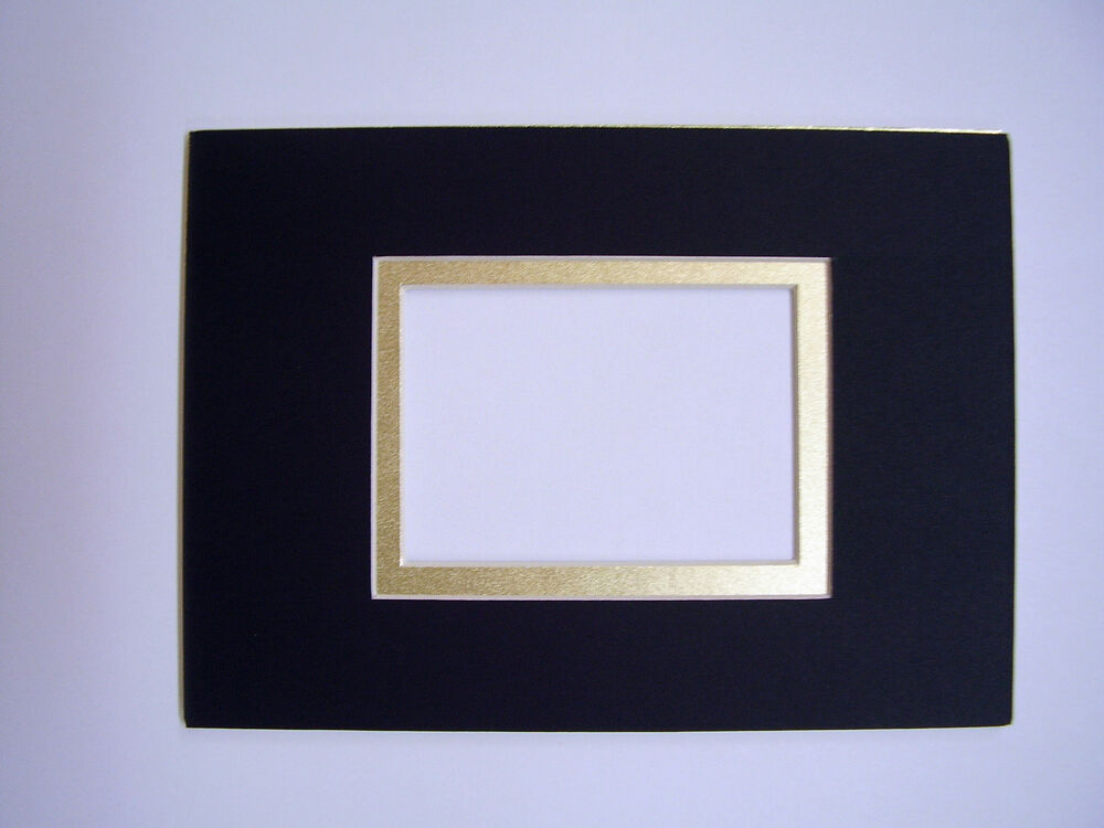 Picture Frame Mat Black With Gold Lin Set Of Two 5x7 For 2