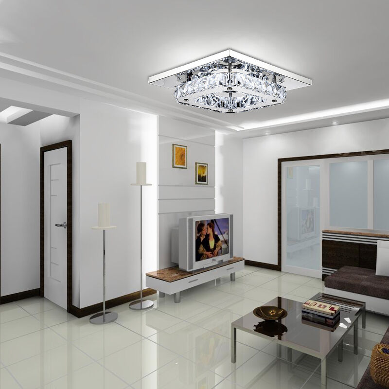 Elegant Crystal Chandelier Modern Square Ceiling Light