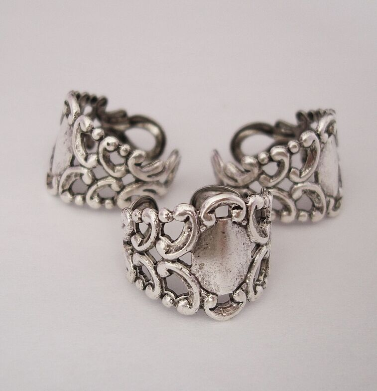 ring base adjustable filigree setting antique silver made
